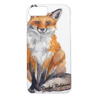 Coque iPhone 8/7 Fox beau d'aquarelle - personnalisé avec le nom