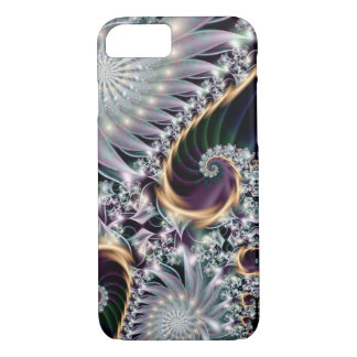 Coque iPhone 8/7 Fractale en spirale argentée de réflexion