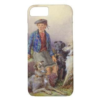 Coque iPhone 8/7 Garçon écossais avec des chiens-loup dans un