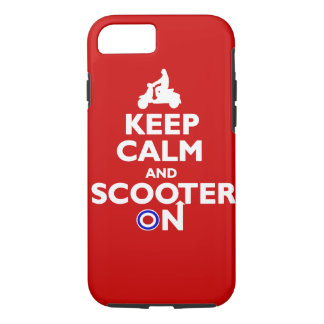 Coque iPhone 8/7 Gardez le calme et le scooter sur le blanc rouge
