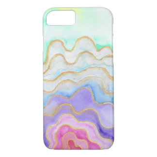 Coque iPhone 8/7 Geode pour aquarelle multicolore