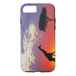 Coque iPhone 8/7 Girafe silhouettée au lever de soleil, Giraffa