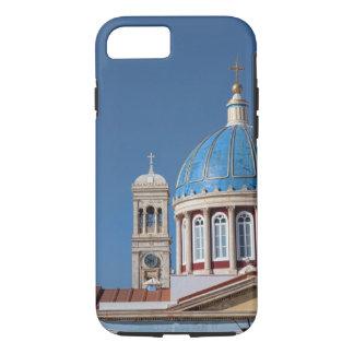 Coque iPhone 8/7 Hermoupolis, île de Syros, Grèce. Dôme bleu de
