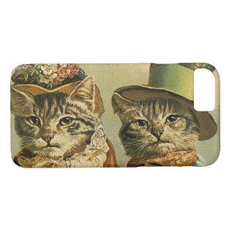Coque iPhone 8/7 Humour vintage, chats victoriens de marié de jeune