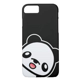 Coque iPhone 8/7 Illustration heureuse de panda de Kawaii noire et