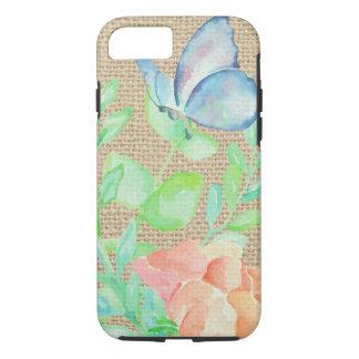 Coque iPhone 8/7 Imaginaire de toile de jute de fleurs et de