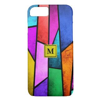 Coque iPhone 8/7 iPhone coloré en verre souillé de monogramme 8/7