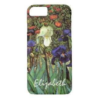Coque iPhone 8/7 Iris de Van Gogh, beaux-arts vintages de jardin