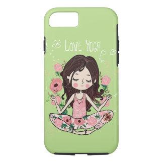 Coque iPhone 8/7 La fille rose de roses aime le yoga
