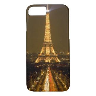 Coque iPhone 8/7 La France, Paris. Vue de nuit de Tour Eiffel