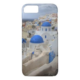 Coque iPhone 8/7 La Grèce, Santorini. Tour de Bell et dômes bleus