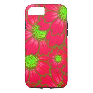Coque iPhone 8/7 La marguerite rouge lumineuse de vert de chaux