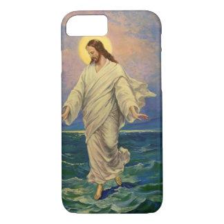 Coque iPhone 8/7 La religion vintage, Jésus-Christ marche sur l'eau