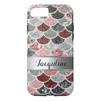 Coque iPhone 8/7 La sirène multicolore d'argent de rose rose mesure