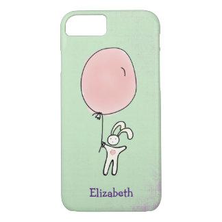 Coque iPhone 8/7 Lapin mignon jugeant un ballon personnalisé