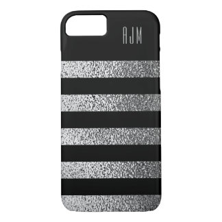 Coque iPhone 8/7 L'ARGENT grunge décoré d'un monogramme barre
