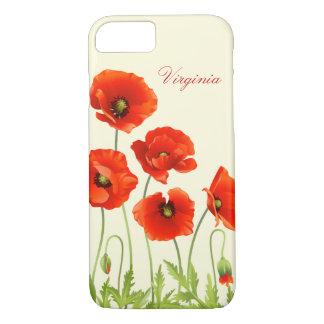 Coque iPhone 8/7 Le pavot rouge personnalisé fleurit la caisse de