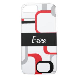 Coque iPhone 8/7 Le rétro blanc gris noir rouge de carrés