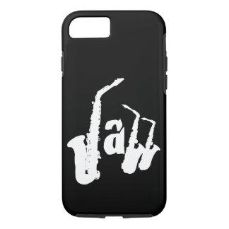 Coque iPhone 8/7 Le saxo de jazz de W choisissent l'arrière - plan