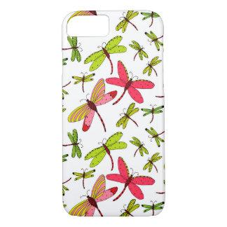 Coque iPhone 8/7 Libellules roses et vertes