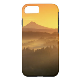 Coque iPhone 8/7 L'orange de lever de soleil colore le brouillard