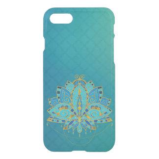 Coque iPhone 8/7 Lotus turquoise bleu avec des accents d'or