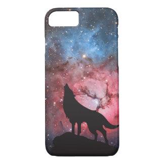 Coque iPhone 8/7 Loup hurlant dans la galaxie