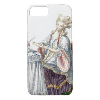 Coque iPhone 8/7 Madame élégante à sa coiffeuse, plat de 'GA
