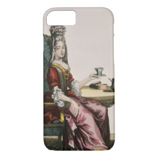 Coque iPhone 8/7 Madame Taking Coffee, plat de mode, c.1695