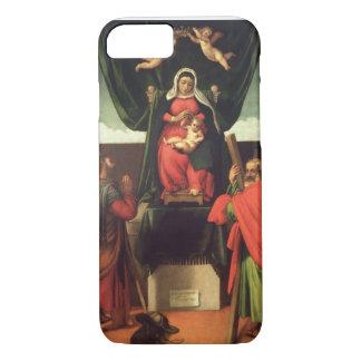 Coque iPhone 8/7 Madonna et enfant couronnés avec quatre saints,