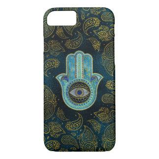Coque iPhone 8/7 Main décorative de Hamsa avec l'arrière - plan de