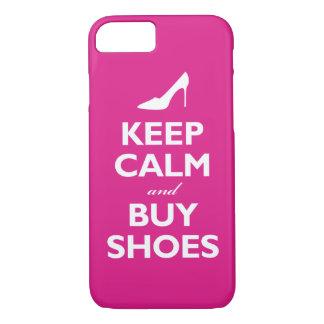 Coque iPhone 8/7 Maintenez calme et achetez les chaussures (les
