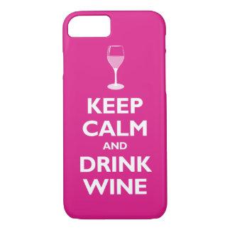 Coque iPhone 8/7 Maintenez vin calme et de boissons (les roses