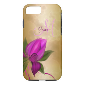 Coque iPhone 8/7 Marbre floral de rose d'or