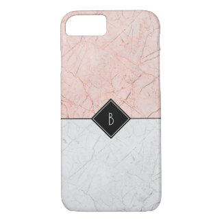 Coque iPhone 8/7 Marbre gris d'or rose élégant de monogramme 8/7