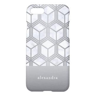 Coque iPhone 8/7 Marbre moderne et motif géométrique argenté