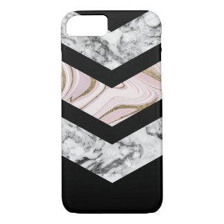 Coque iPhone 8/7 Marbre rose blanc noir moderne de chevron d'or de