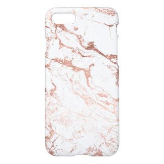 Coque iPhone 8/7 Marbre rose de blanc d'or de faux chic moderne