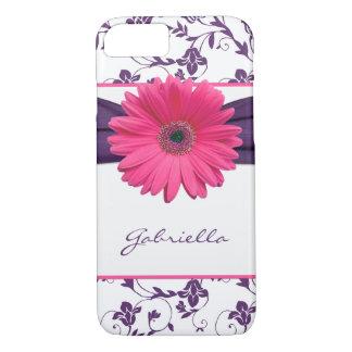 Coque iPhone 8/7 Marguerite florale pourpre de Gerber de rose de