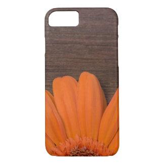 Coque iPhone 8/7 Marguerite orange et bois rustiques de grange