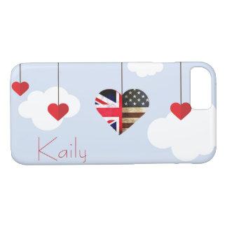 Coque iPhone 8/7 Mariage royal de coeurs américains britanniques