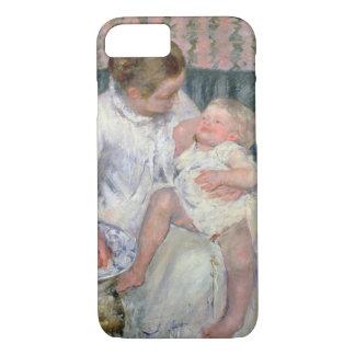 Coque iPhone 8/7 Mère environ pour laver son enfant somnolent, 1880