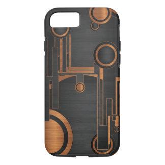 Coque iPhone 8/7 métal noir avec les cercles en bois