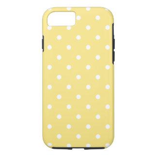 Coque iPhone 8/7 Modèle de pois jaune et blanc