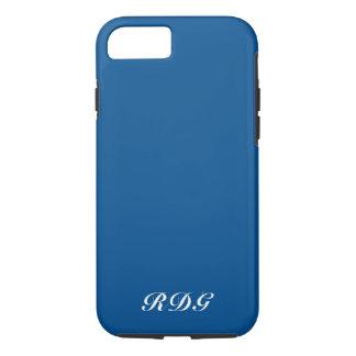 Coque iPhone 8/7 Monogramme blanc professionnel moderne bleu-foncé