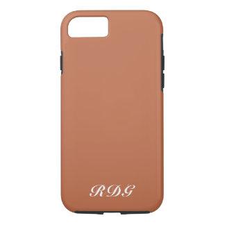 Coque iPhone 8/7 Monogramme blanc professionnel moderne brun clair