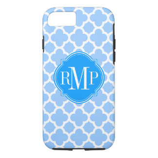 Coque iPhone 8/7 Monogramme bleu-clair et blanc de Quatrefoil de