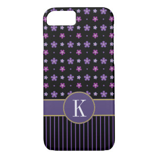 Coque iPhone 8/7 Monogramme chic rayé floral noir pourpre Girly