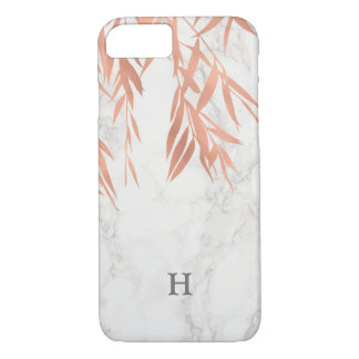 Coque iPhone 8/7 Monogramme de marbre blanc à la mode