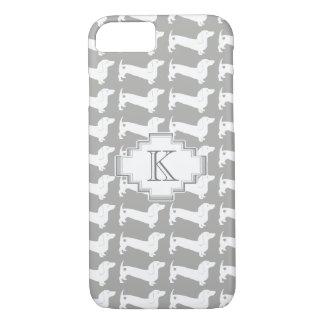 Coque iPhone 8/7 Monogramme de motif de race de chien de teckel